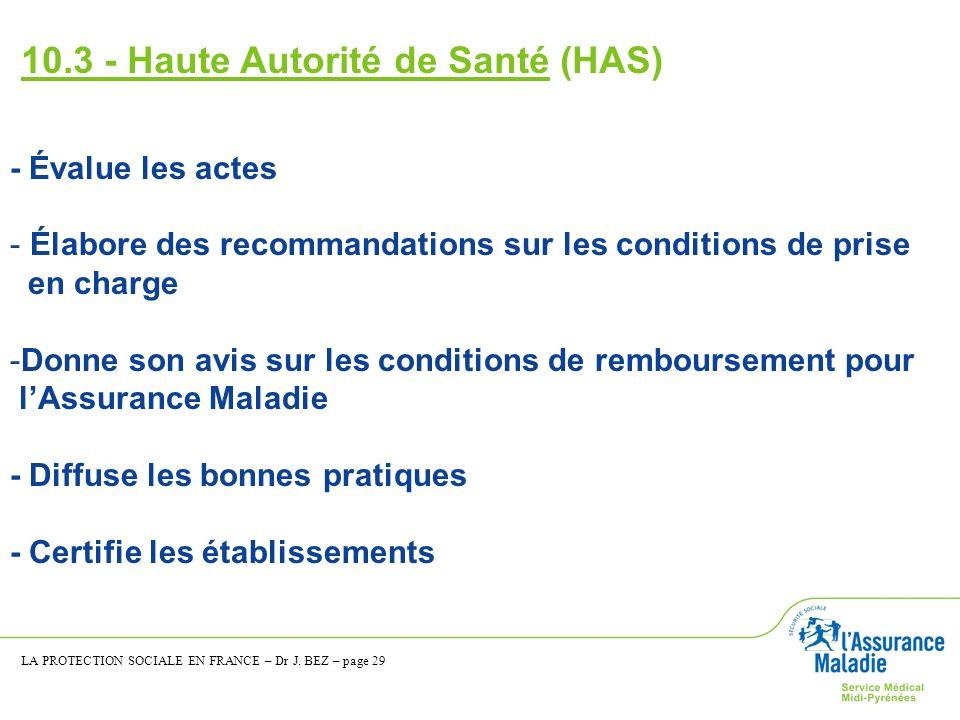 10.3 - Haute Autorité de Santé (HAS)
