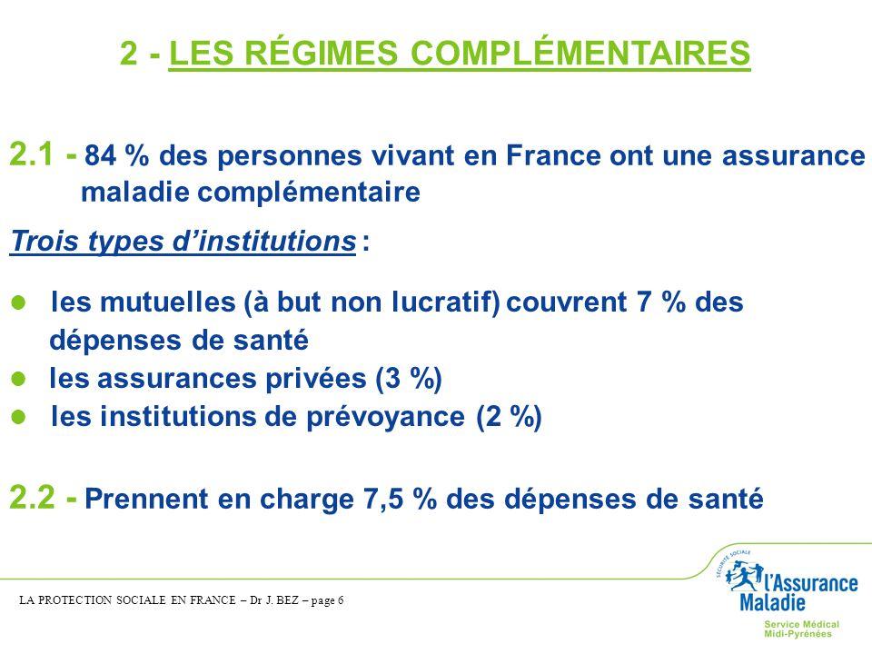 2.1 - 84 % des personnes vivant en France ont une assurance