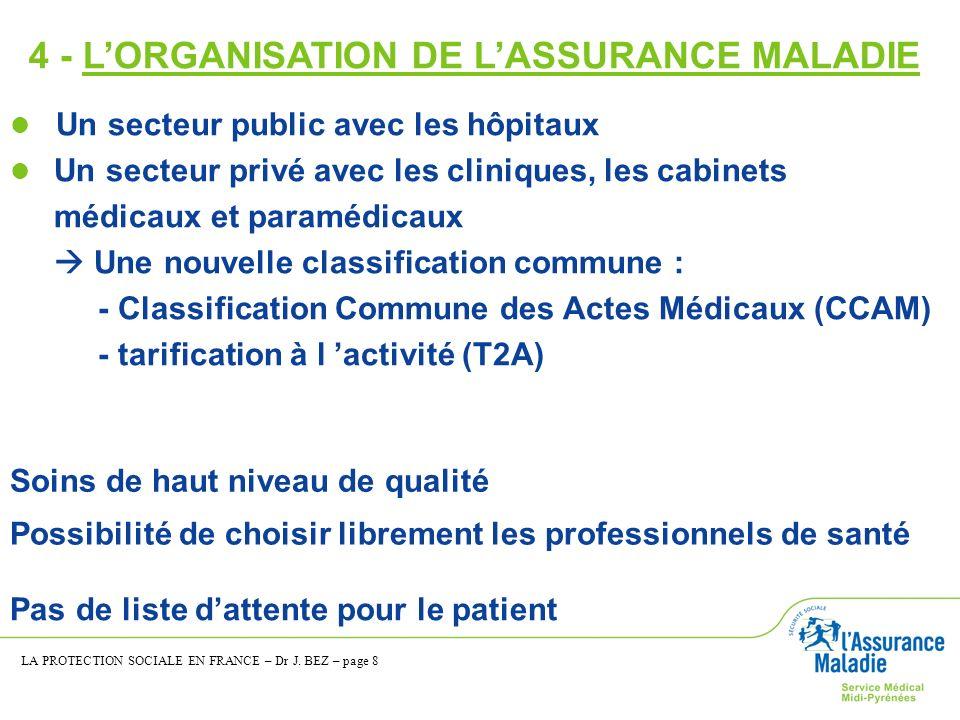 4 - L'ORGANISATION DE L'ASSURANCE MALADIE