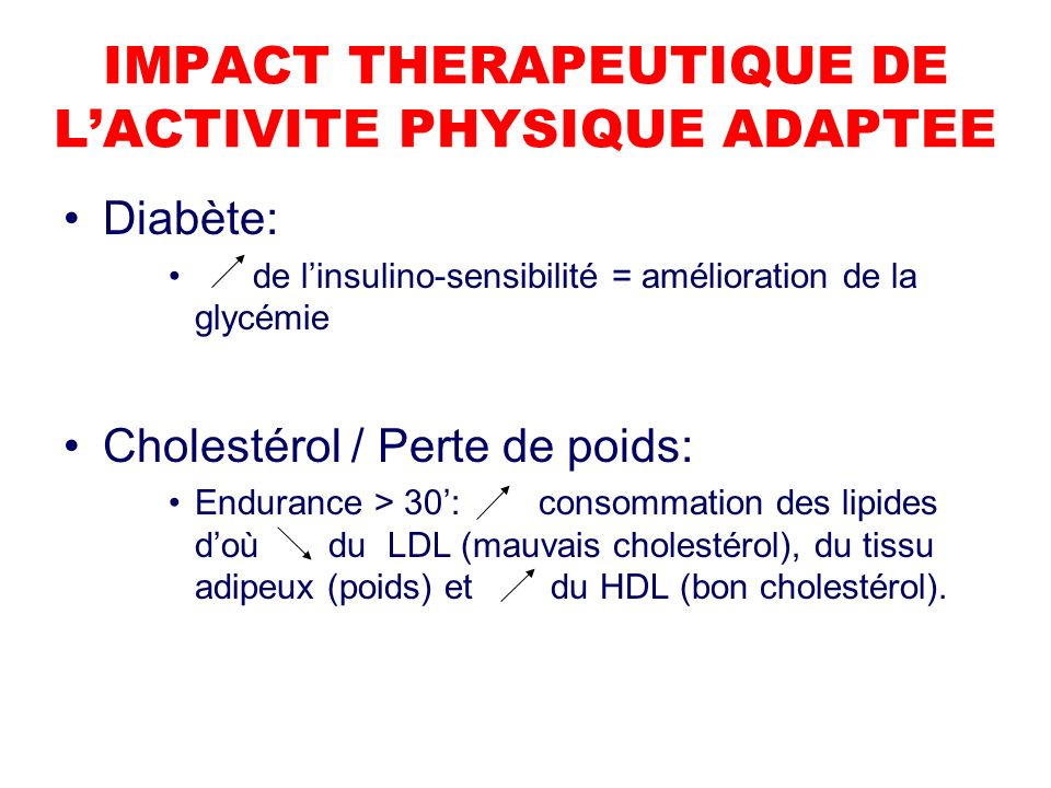 IMPACT THERAPEUTIQUE DE L'ACTIVITE PHYSIQUE ADAPTEE