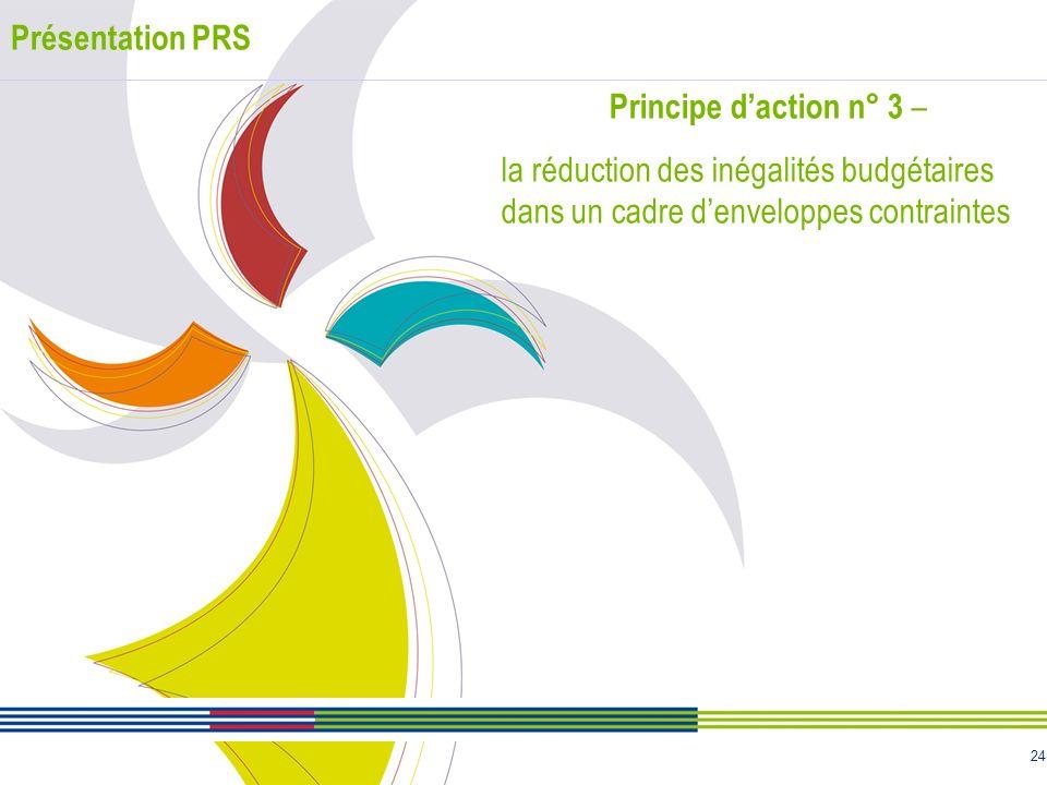 Présentation PRS Principe d'action n° 3 – la réduction des inégalités budgétaires dans un cadre d'enveloppes contraintes.