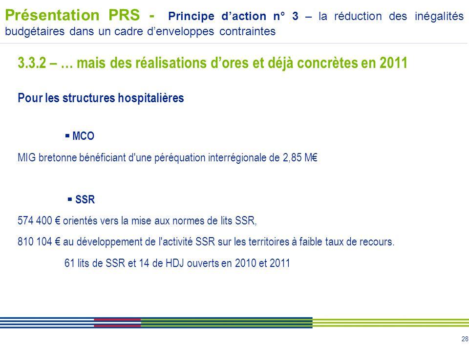 3.3.2 – … mais des réalisations d'ores et déjà concrètes en 2011