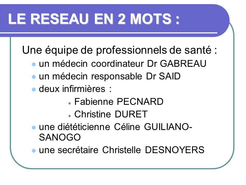 LE RESEAU EN 2 MOTS : Une équipe de professionnels de santé :