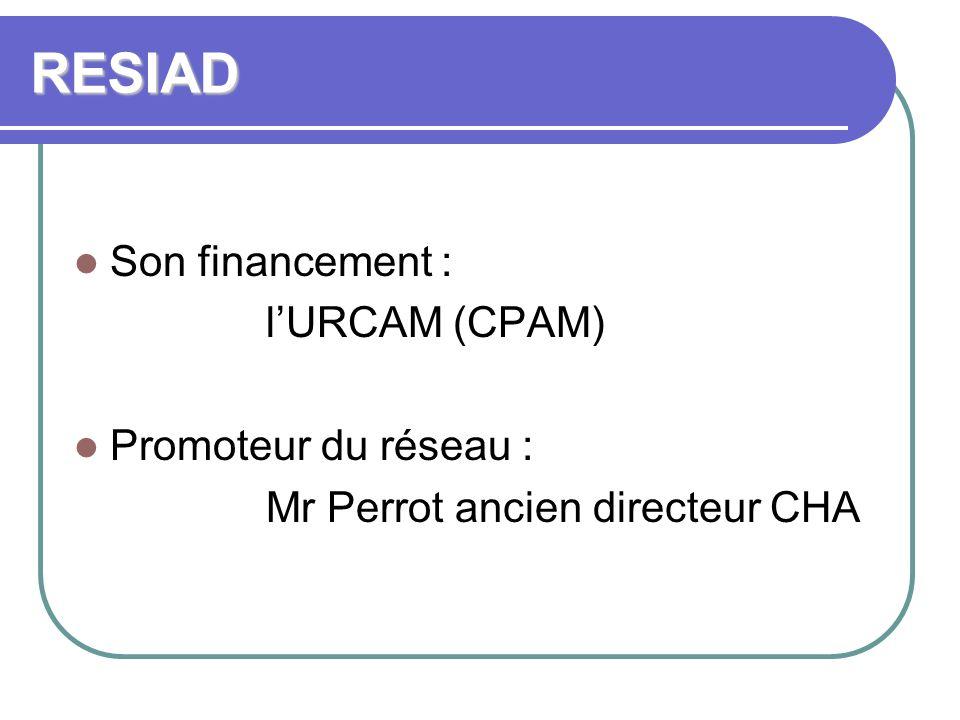 RESIAD Son financement : l'URCAM (CPAM) Promoteur du réseau :