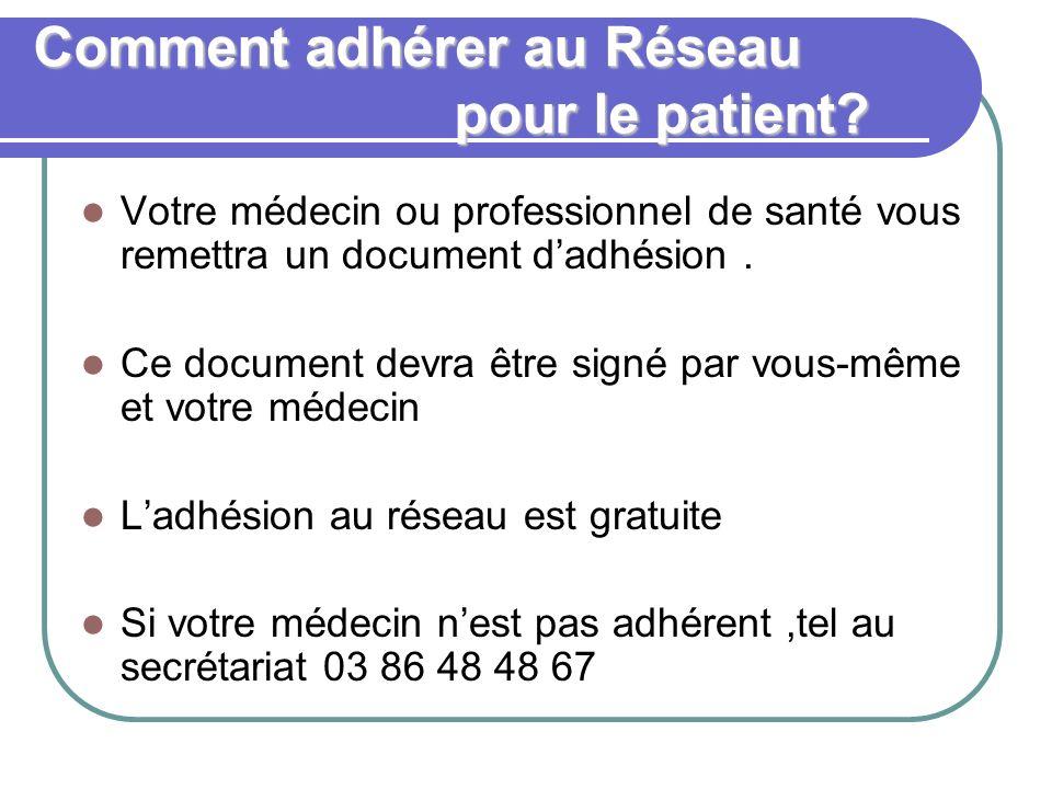 Comment adhérer au Réseau pour le patient