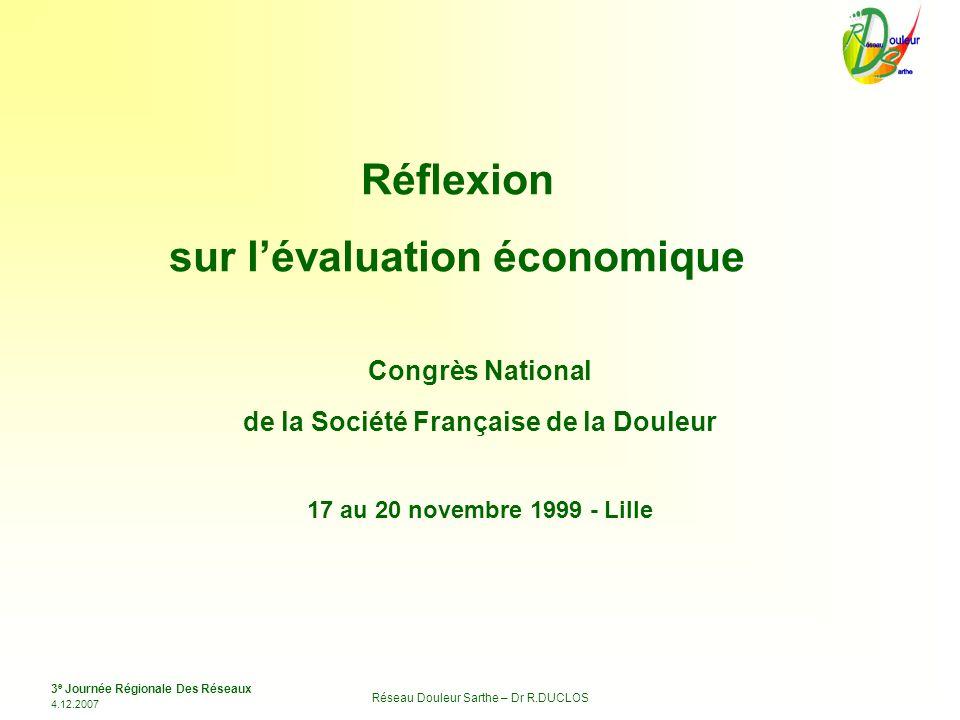 sur l'évaluation économique de la Société Française de la Douleur