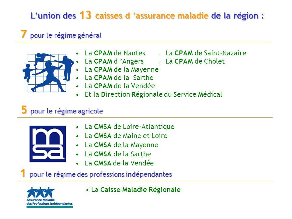 L'union des 13 caisses d 'assurance maladie de la région :