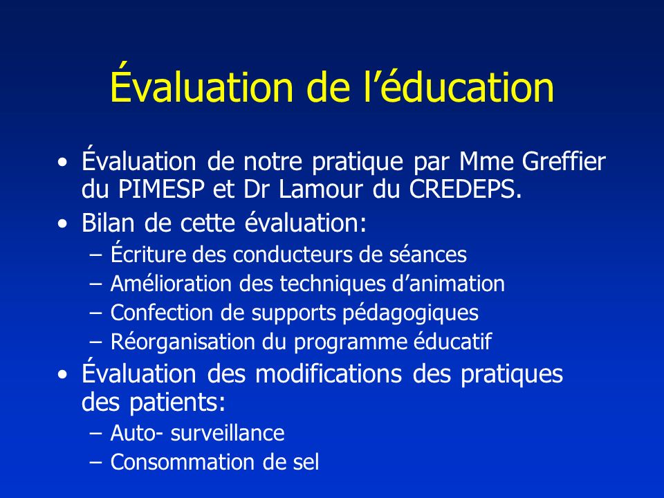 Évaluation de l'éducation