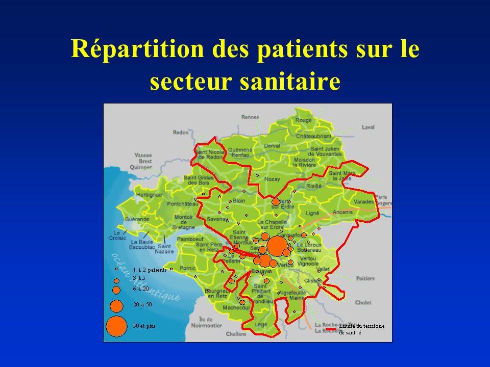 Répartition des patients sur le secteur sanitaire