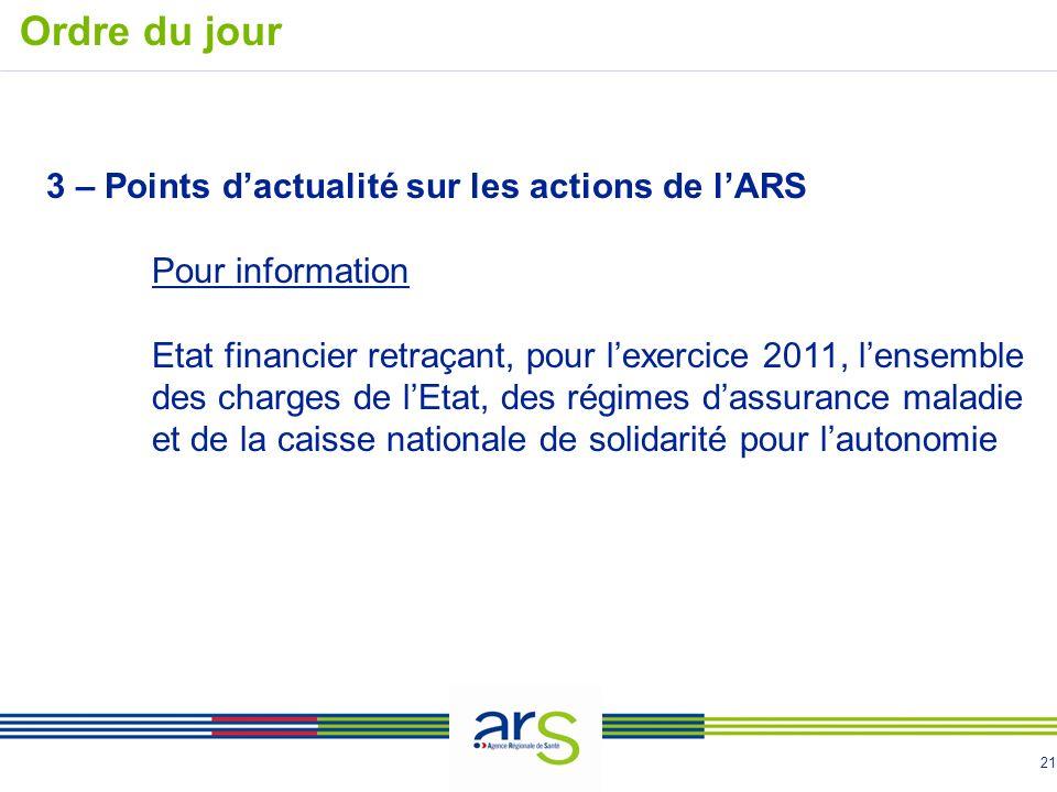 Ordre du jour 3 – Points d'actualité sur les actions de l'ARS