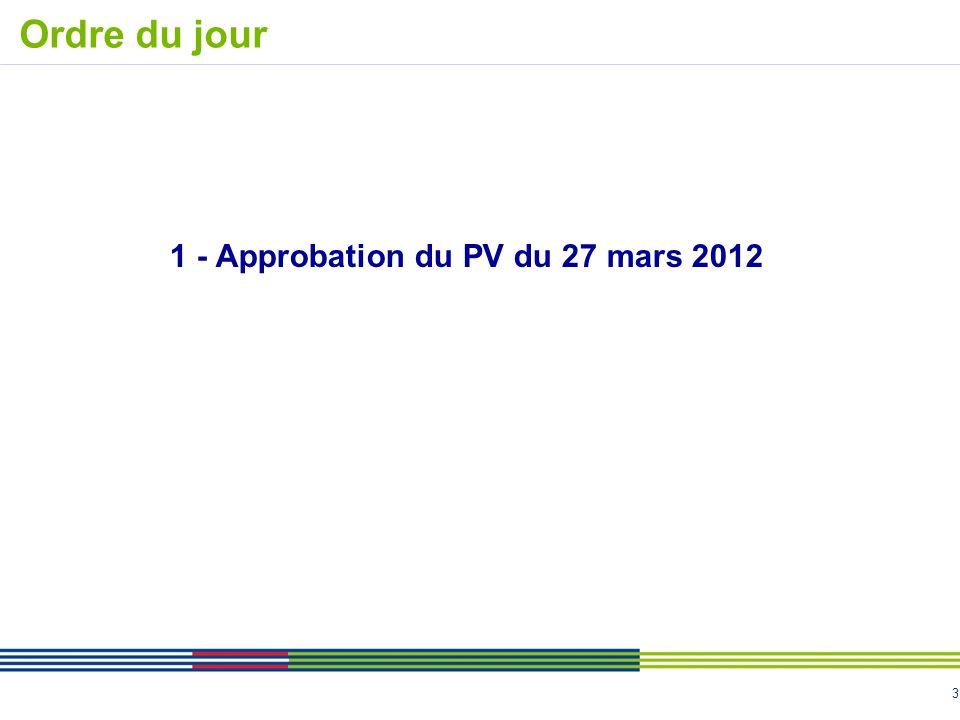 1 - Approbation du PV du 27 mars 2012