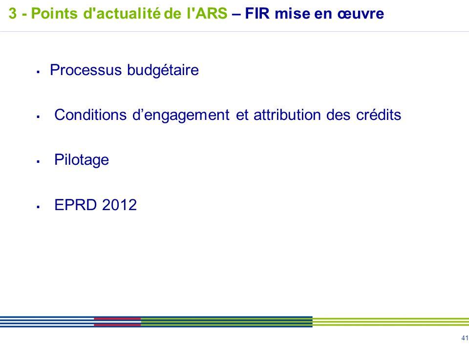 3 - Points d actualité de l ARS – FIR mise en œuvre