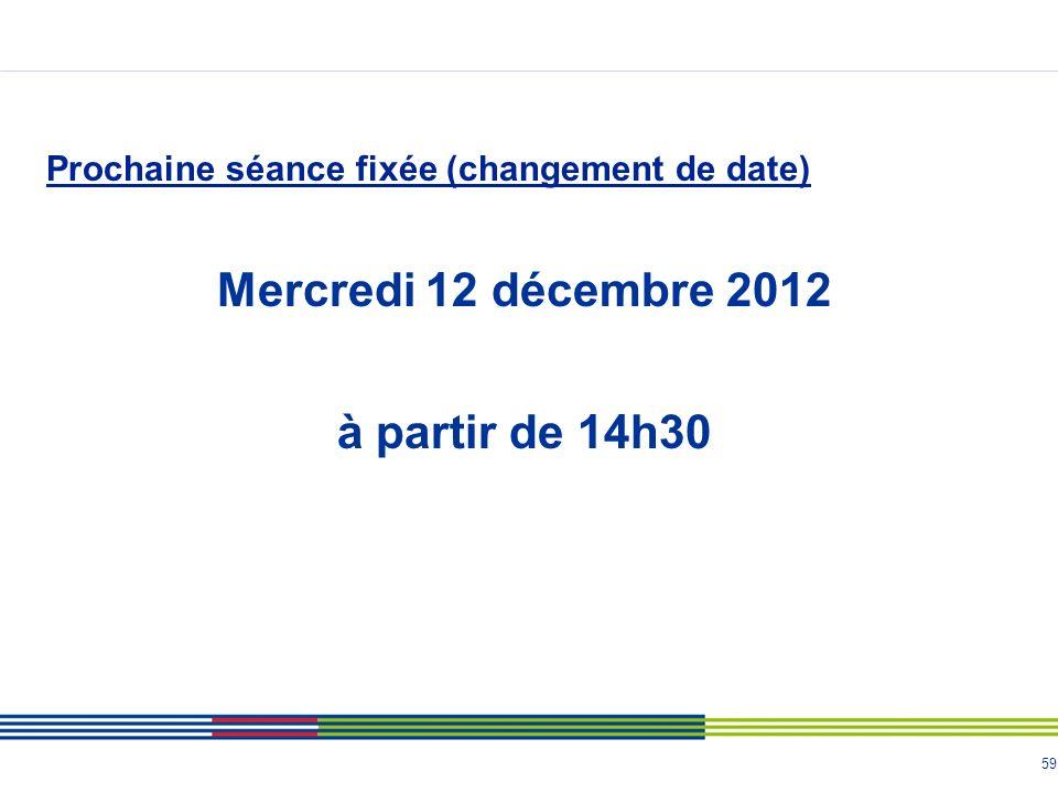 Mercredi 12 décembre 2012 à partir de 14h30