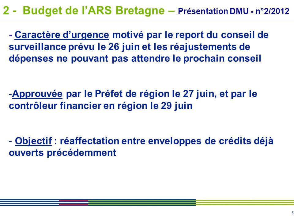 2 - Budget de l'ARS Bretagne – Présentation DMU - n°2/2012