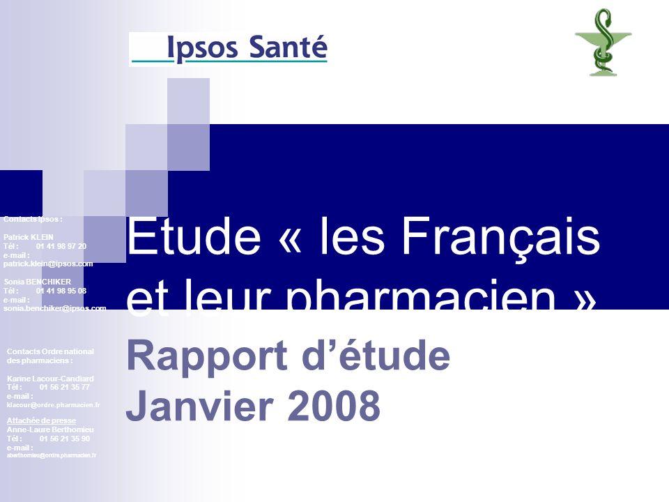 Etude « les Français et leur pharmacien » Rapport d'étude Janvier 2008