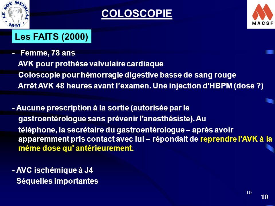COLOSCOPIE Les FAITS (2000) - Femme, 78 ans