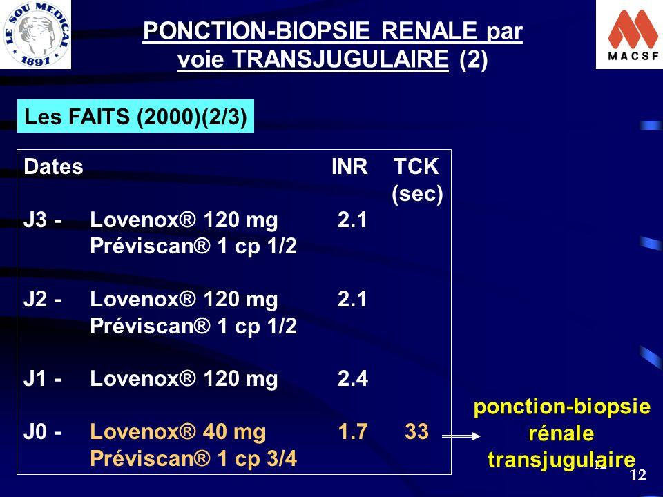 PONCTION-BIOPSIE RENALE par voie TRANSJUGULAIRE (2)
