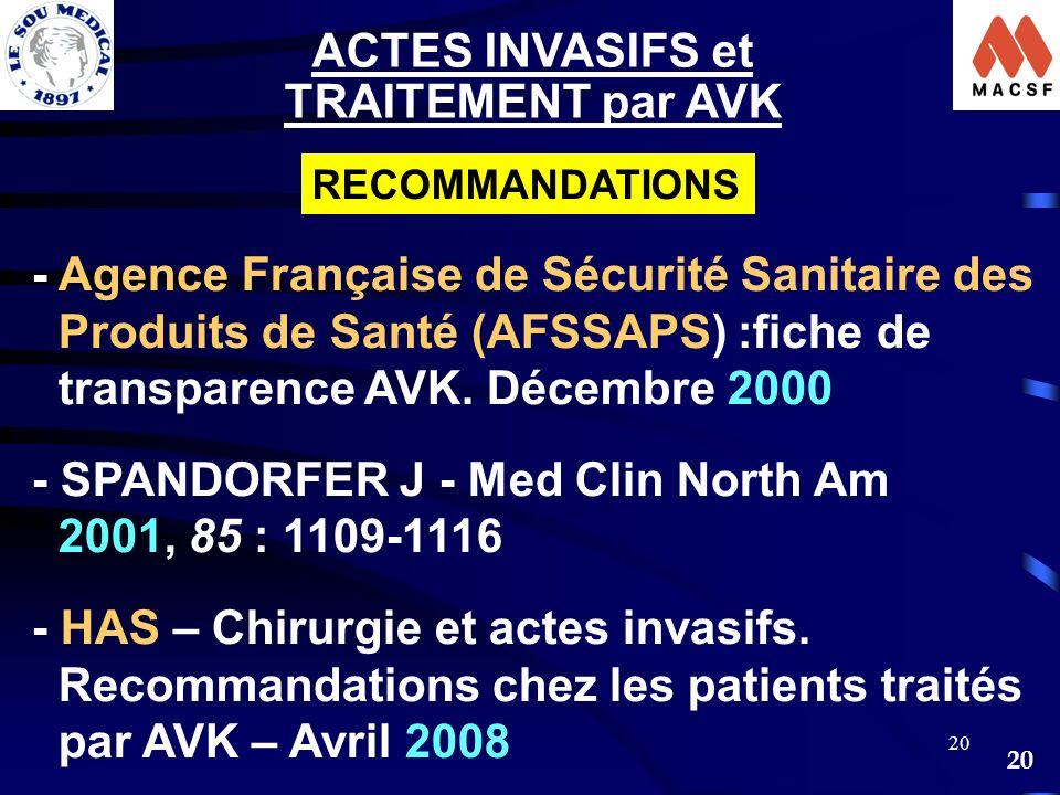 ACTES INVASIFS et TRAITEMENT par AVK