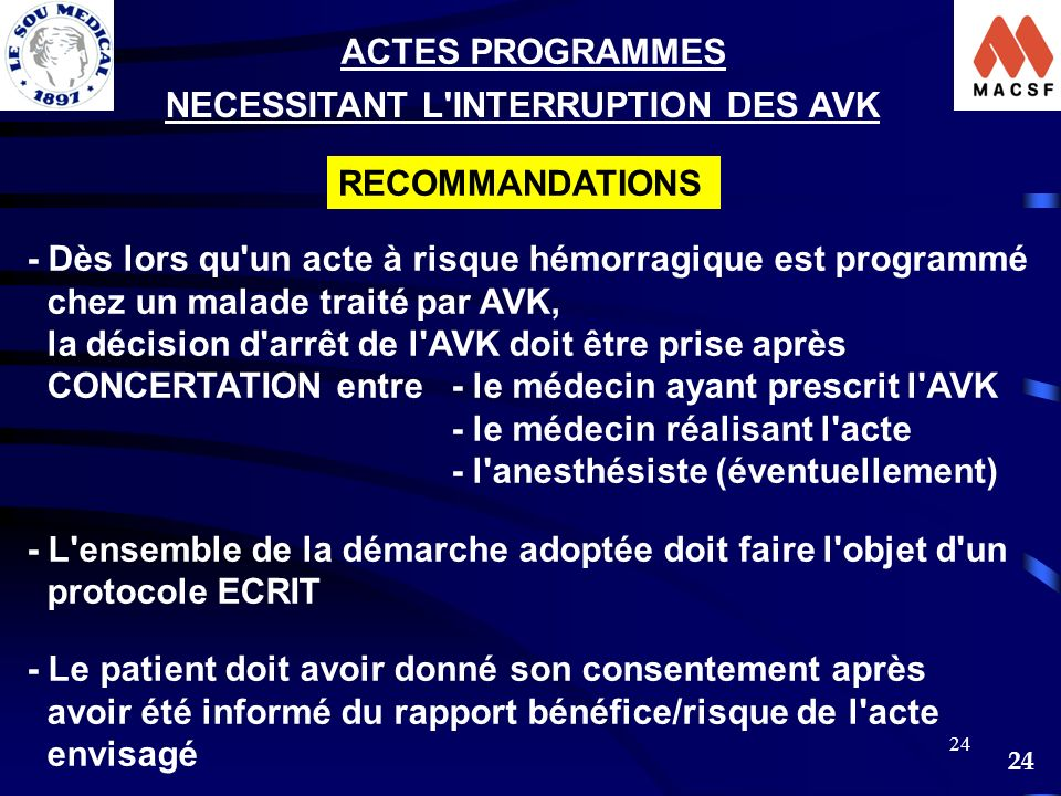 ACTES PROGRAMMES NECESSITANT L INTERRUPTION DES AVK. RECOMMANDATIONS. - Dès lors qu un acte à risque hémorragique est programmé.