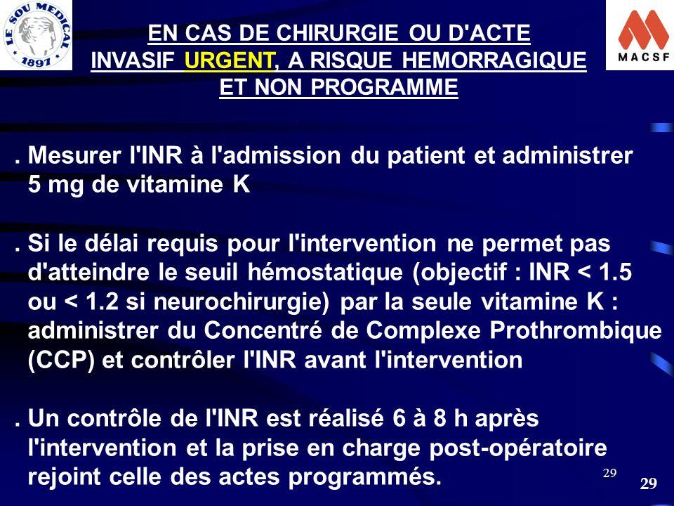 EN CAS DE CHIRURGIE OU D ACTE INVASIF URGENT, A RISQUE HEMORRAGIQUE