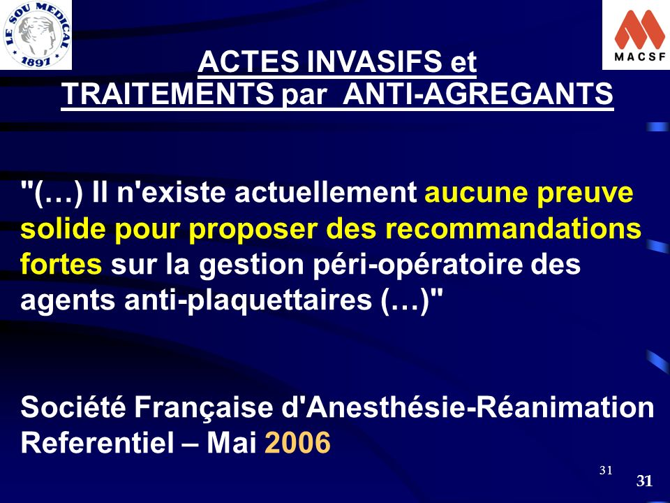 TRAITEMENTS par ANTI-AGREGANTS
