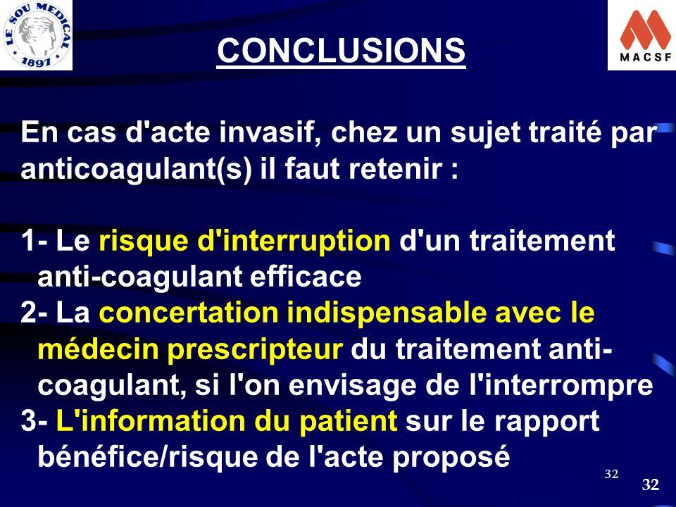 CONCLUSIONS En cas d acte invasif, chez un sujet traité par