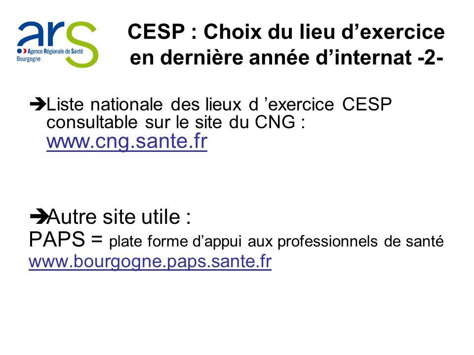 CESP : Choix du lieu d'exercice en dernière année d'internat -2-