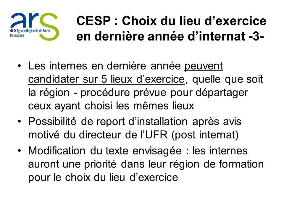 CESP : Choix du lieu d'exercice en dernière année d'internat -3-