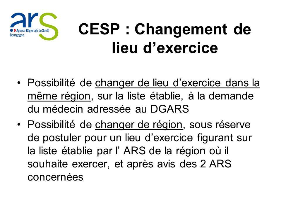 CESP : Changement de lieu d'exercice