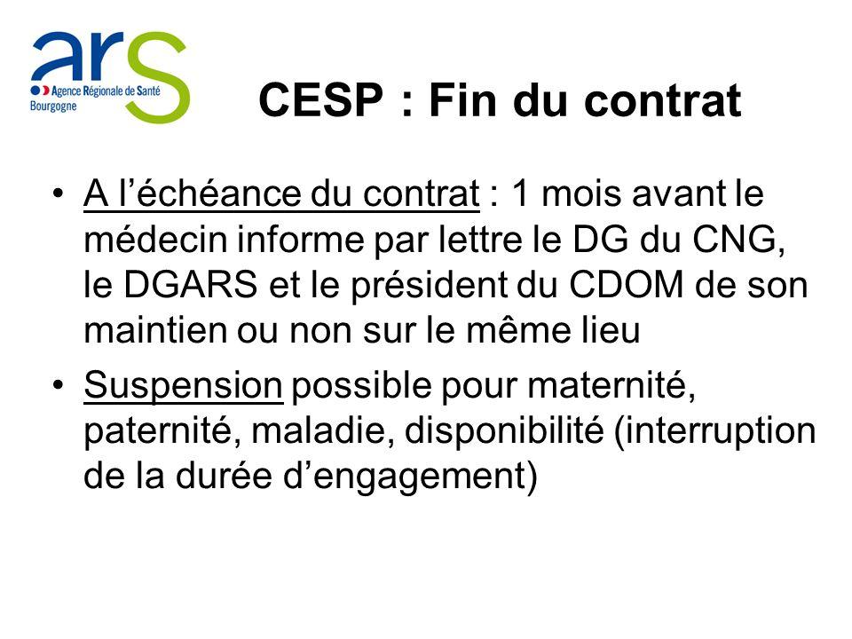CESP : Fin du contrat
