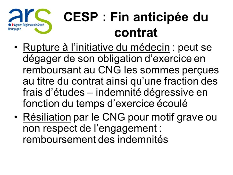 CESP : Fin anticipée du contrat