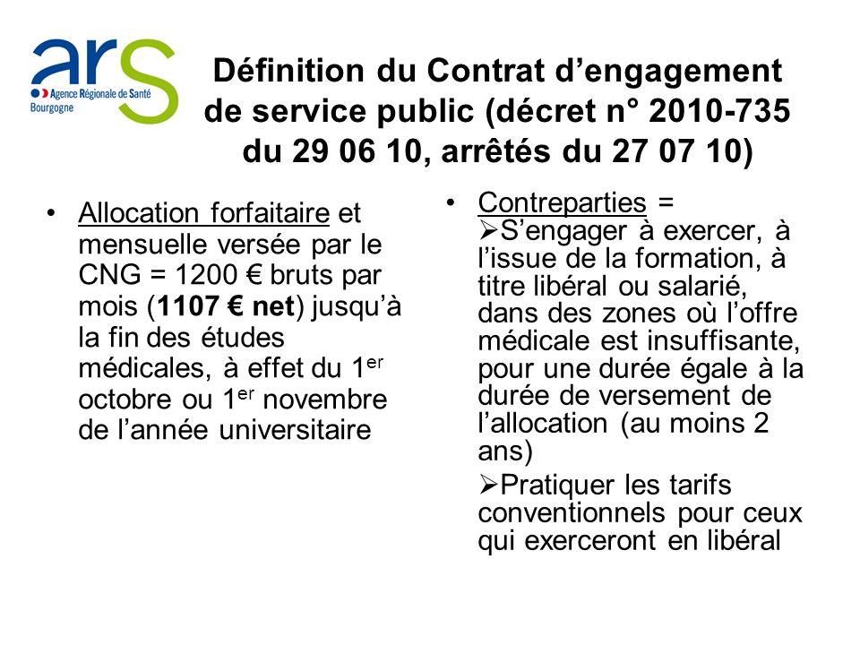 Définition du Contrat d'engagement de service public (décret n° 2010-735 du 29 06 10, arrêtés du 27 07 10)