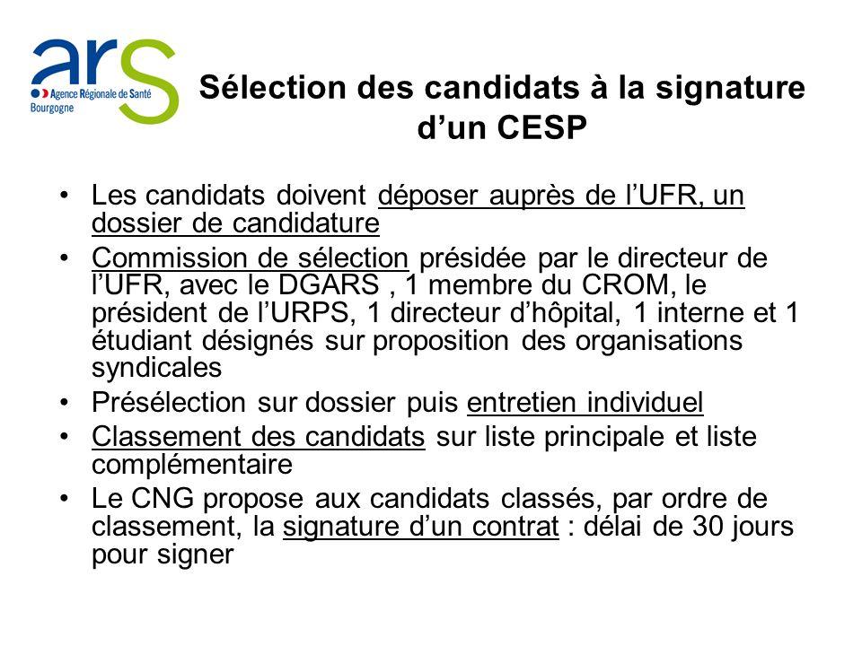 Sélection des candidats à la signature d'un CESP