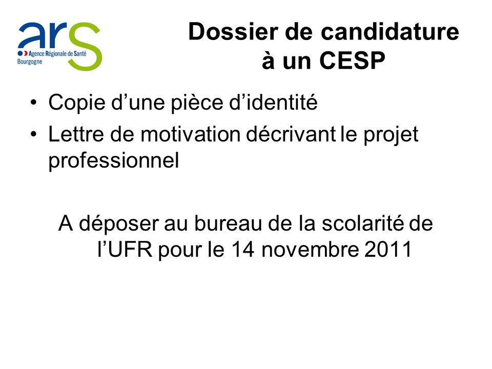 Dossier de candidature à un CESP