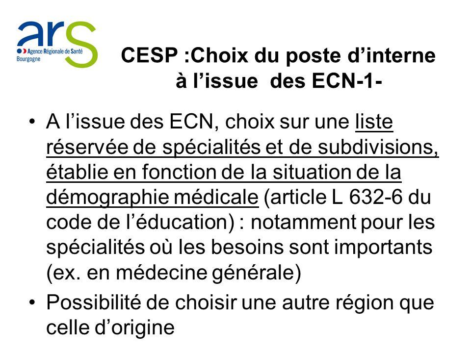 CESP :Choix du poste d'interne à l'issue des ECN-1-