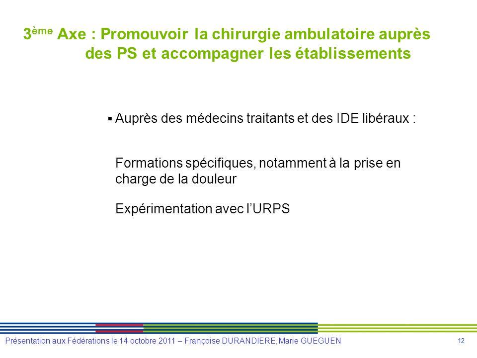 3ème Axe : Promouvoir la chirurgie ambulatoire auprès des PS et accompagner les établissements