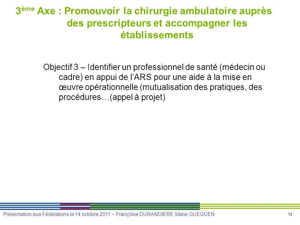 3ème Axe : Promouvoir la chirurgie ambulatoire auprès des prescripteurs et accompagner les établissements