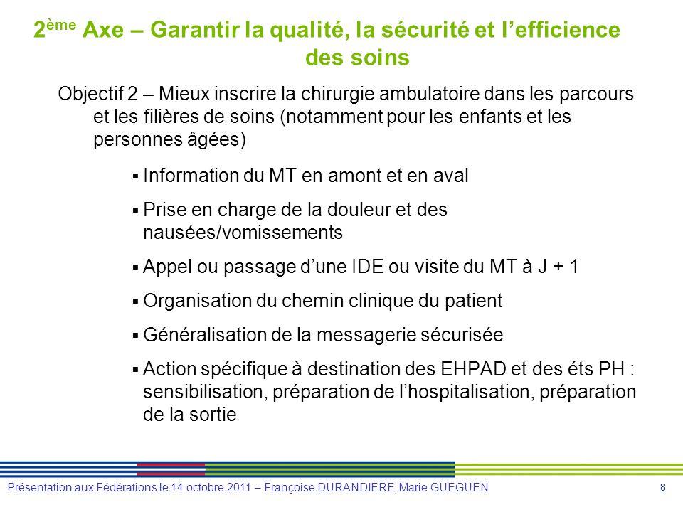 2ème Axe – Garantir la qualité, la sécurité et l'efficience des soins