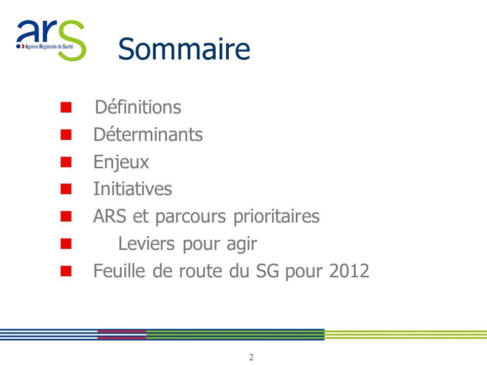 Sommaire ■ Définitions ■ Déterminants ■ Enjeux ■ Initiatives