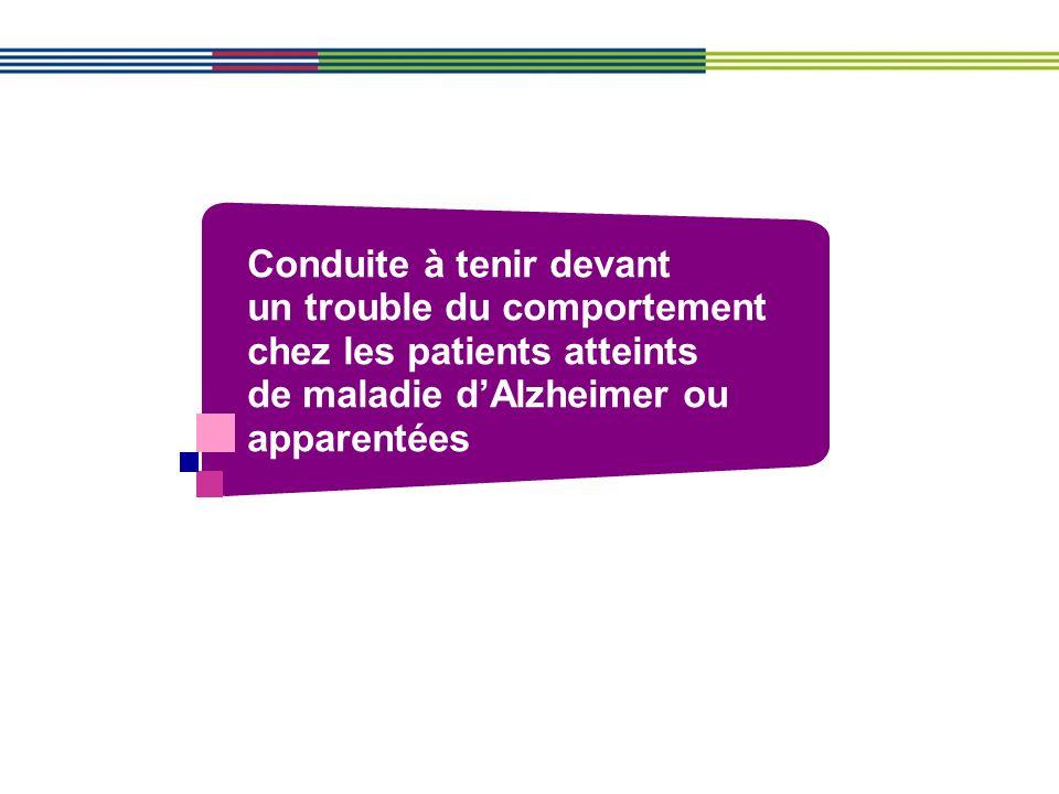 Conduite à tenir devant un trouble du comportement chez les patients atteints de maladie d'Alzheimer ou apparentées