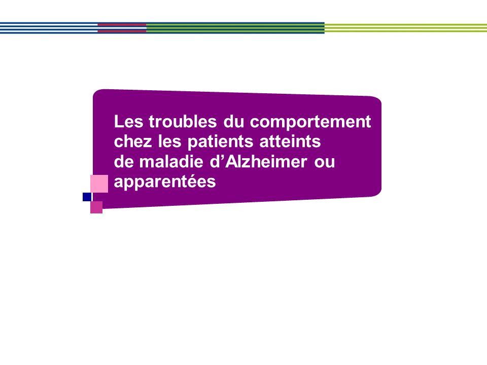 Les troubles du comportement chez les patients atteints de maladie d'Alzheimer ou apparentées