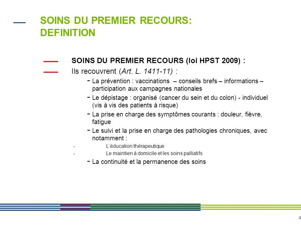 SOINS DU PREMIER RECOURS: DEFINITION