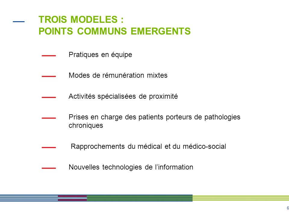 TROIS MODELES : POINTS COMMUNS EMERGENTS