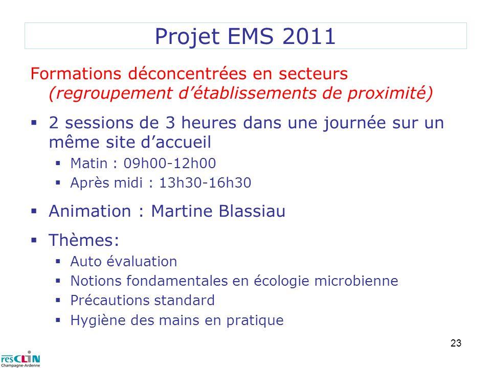 Projet EMS 2011Formations déconcentrées en secteurs (regroupement d'établissements de proximité)