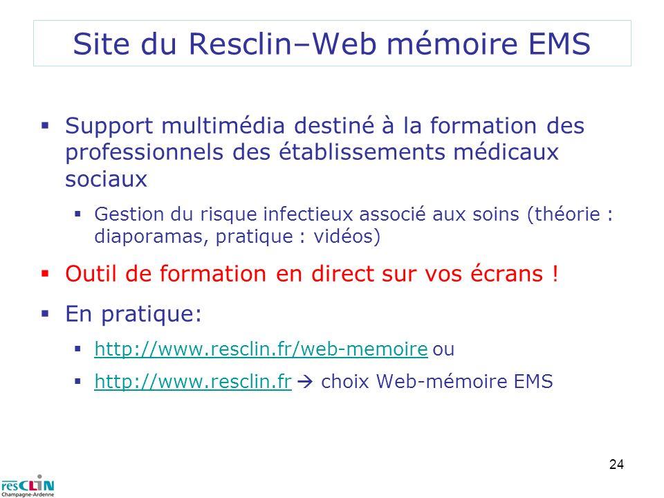 Site du Resclin–Web mémoire EMS