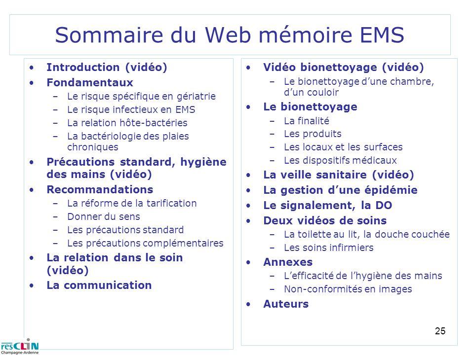 Sommaire du Web mémoire EMS