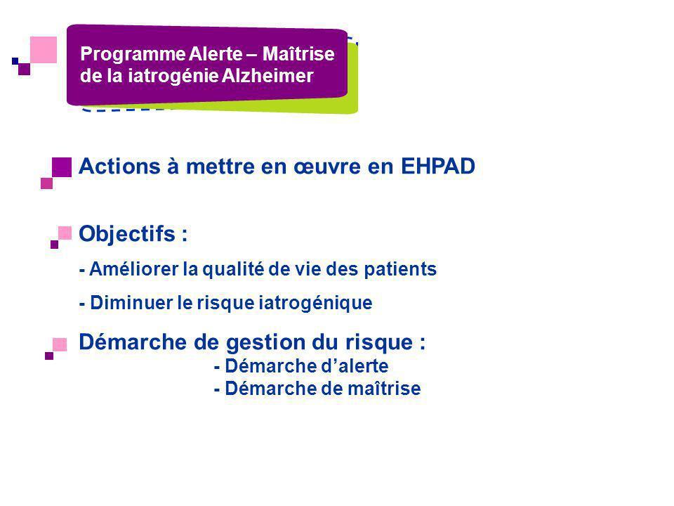 Actions à mettre en œuvre en EHPAD Objectifs :