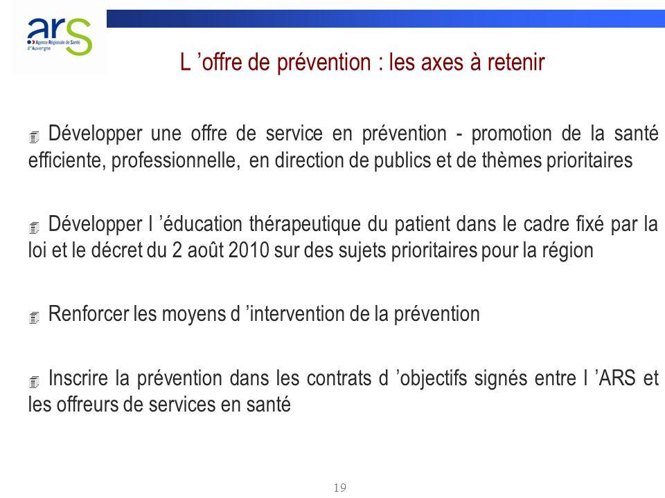 L 'offre de prévention : les axes à retenir