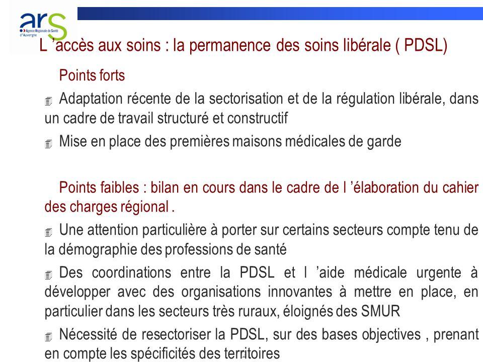 L 'accès aux soins : la permanence des soins libérale ( PDSL)
