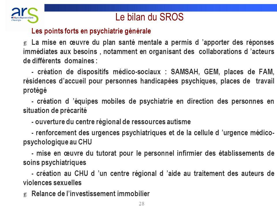 Le bilan du SROS Les points forts en psychiatrie générale